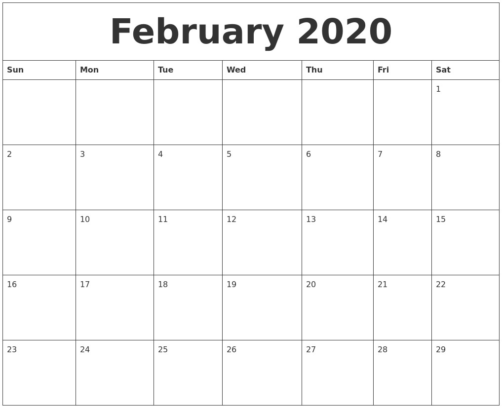 February 2020 Printable Calendar Template