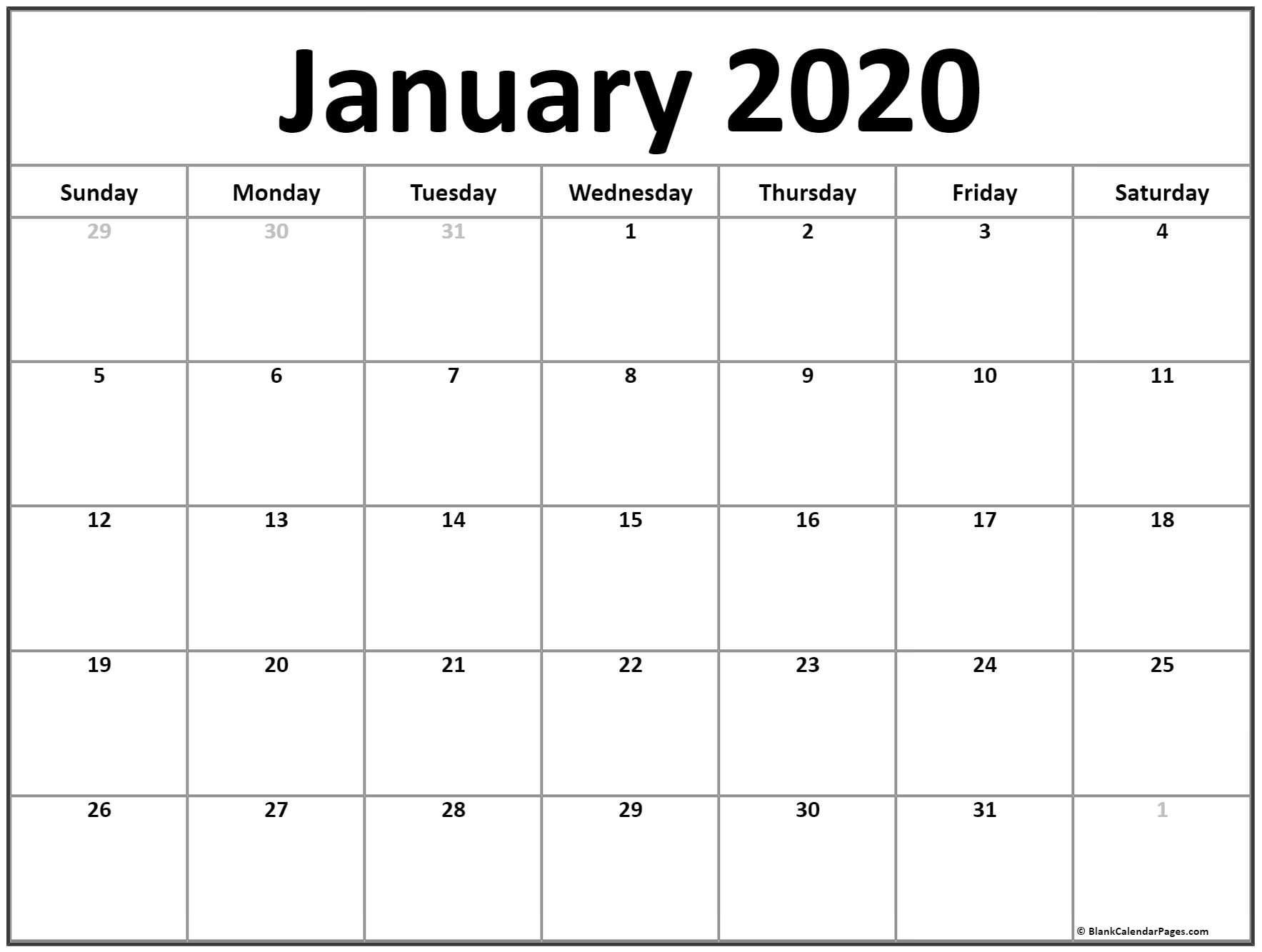 Printable Calendars for 2020 January 2020 Calendar
