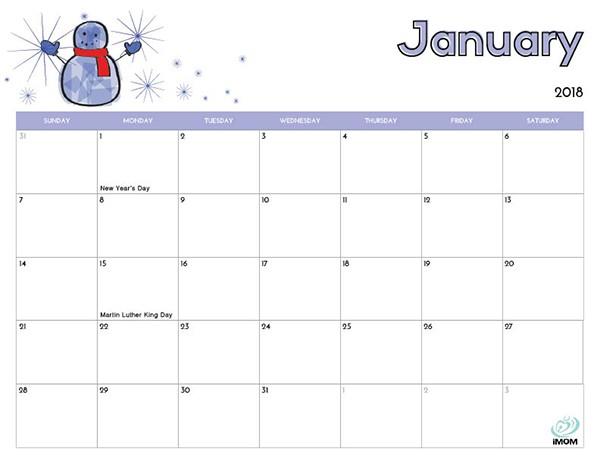 2018 Free Printable Calendar for Kids iMom