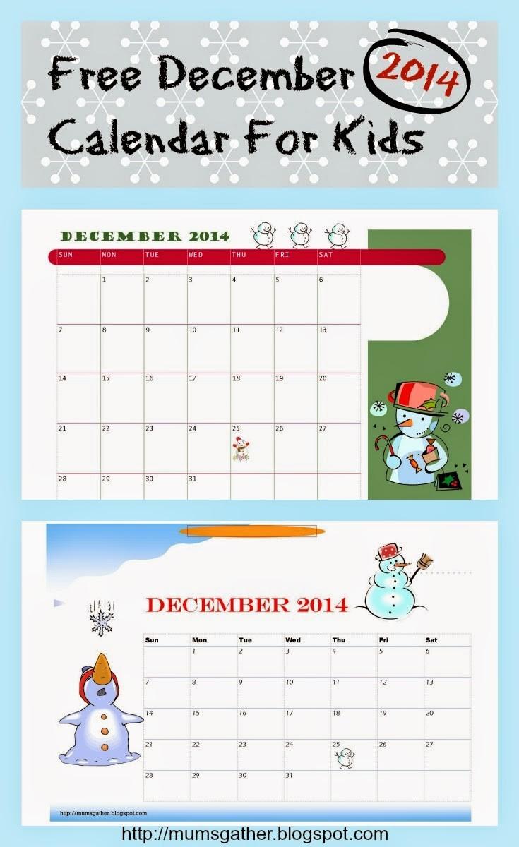 Free Printable December 2014 Calendar For Kids Snowman