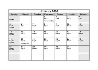 Printable Julian Calendar 2020 Printable 2020 Julian Date Calendar Calendarlabs