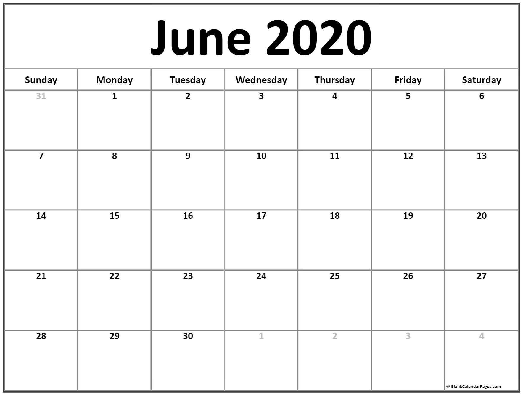 Printable June Calendar 2020 June 2020 Calendar