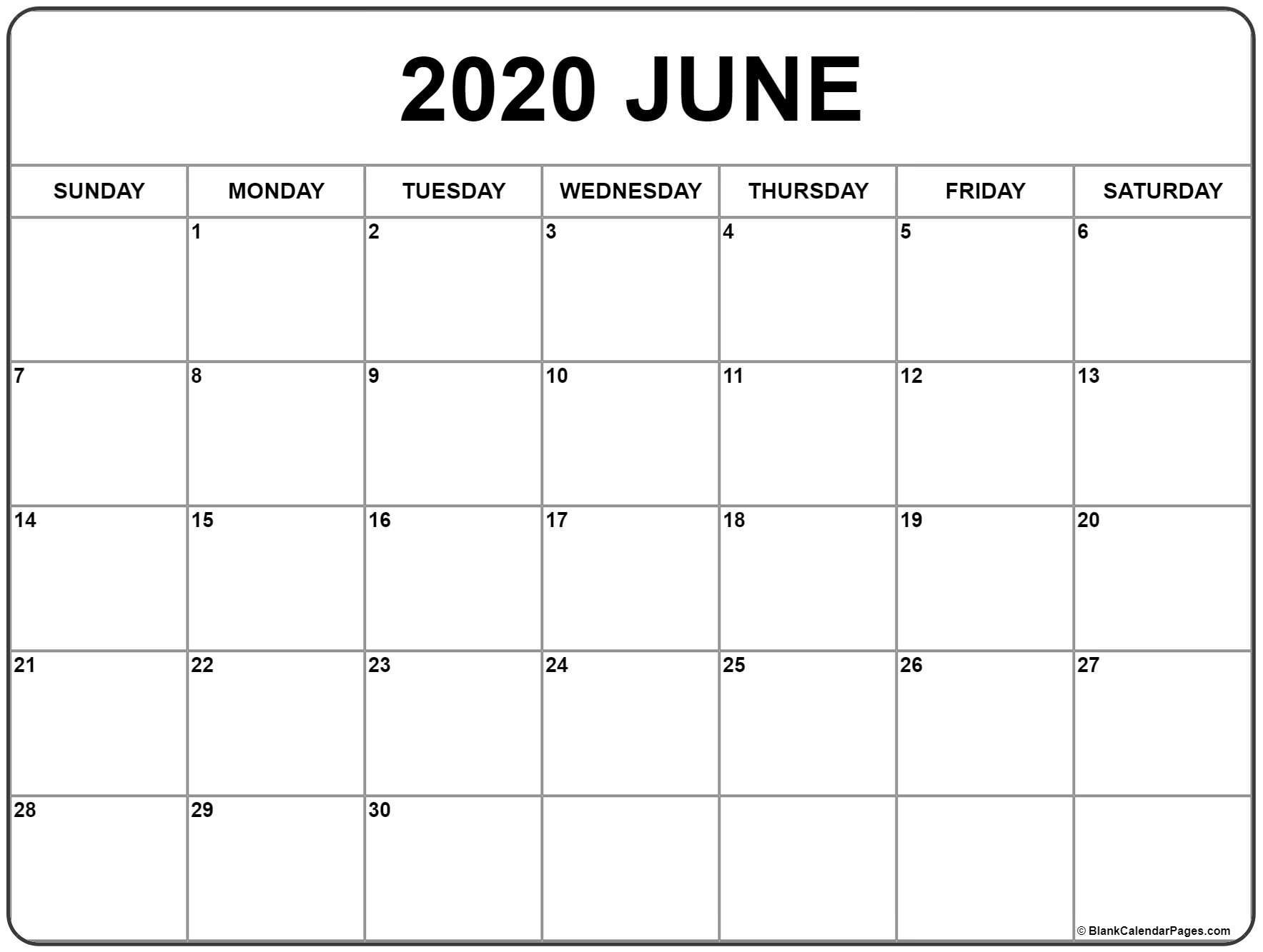 Printable June Calendar 2020