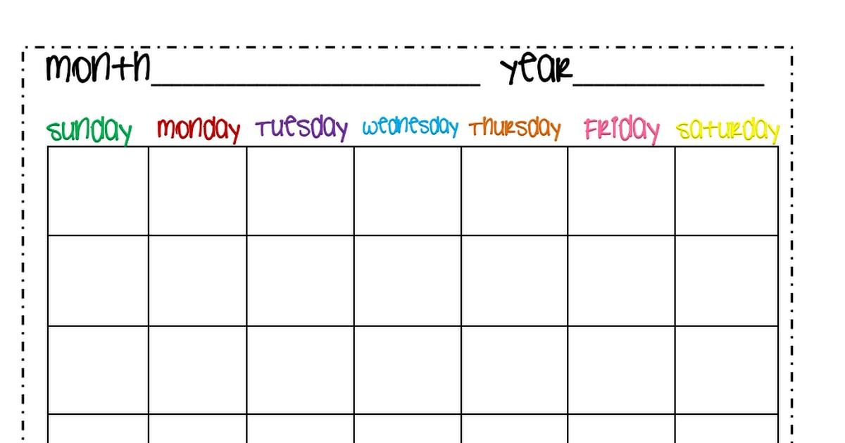 Printable Lesson Plan Calendar Calendar Month Pdf