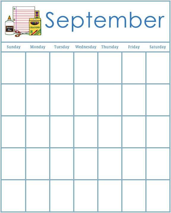 Printable Preschool Calendars Blank September Calendar 2018