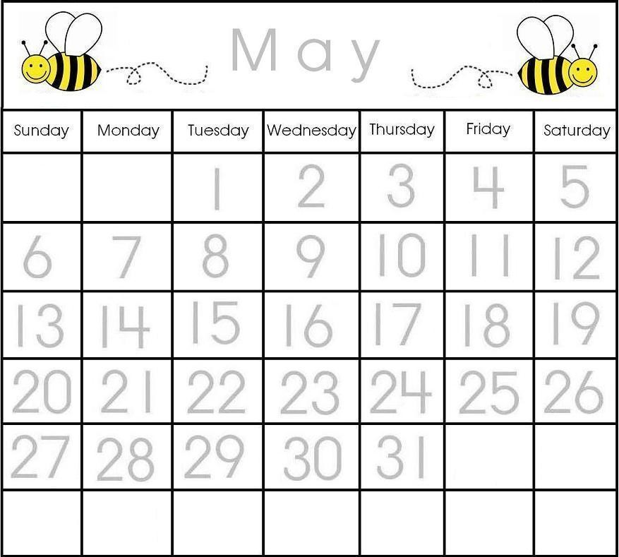 May Traceable Calendar Printable Calendar Items