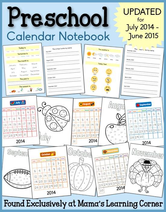 Preschool Calendar Notebook Mamas Learning Corner