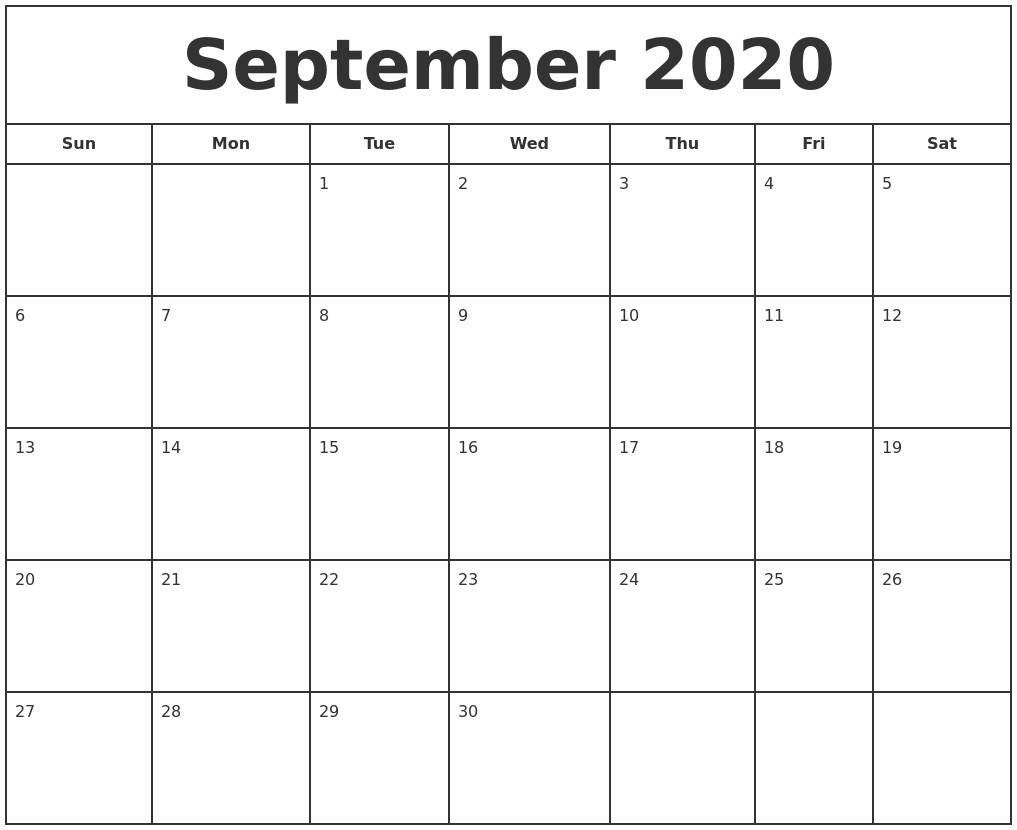 Printable September 2020 Calendar September 2020 Print Free Calendar