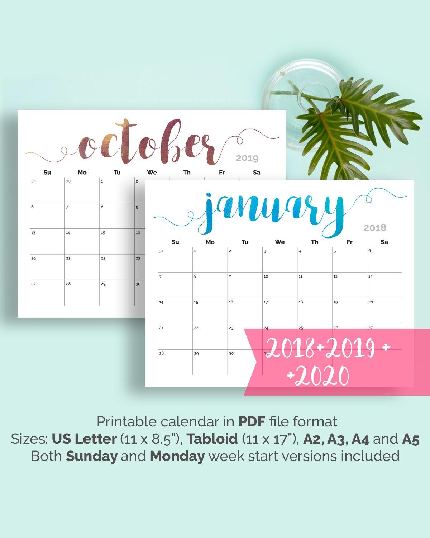 PRINTABLE Calendar 2018 2019 Wall Calendar 2018 Desk