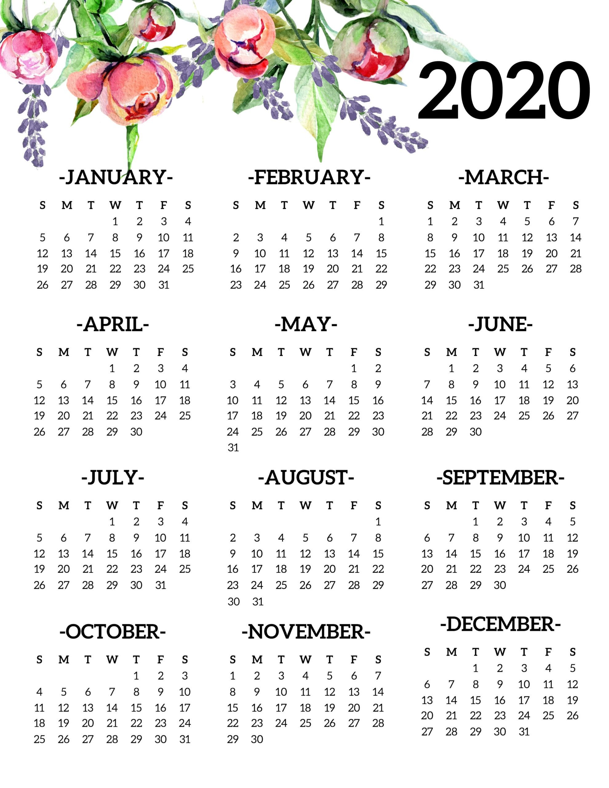 Free Printable 2020 Calendar Yearly e Page Floral