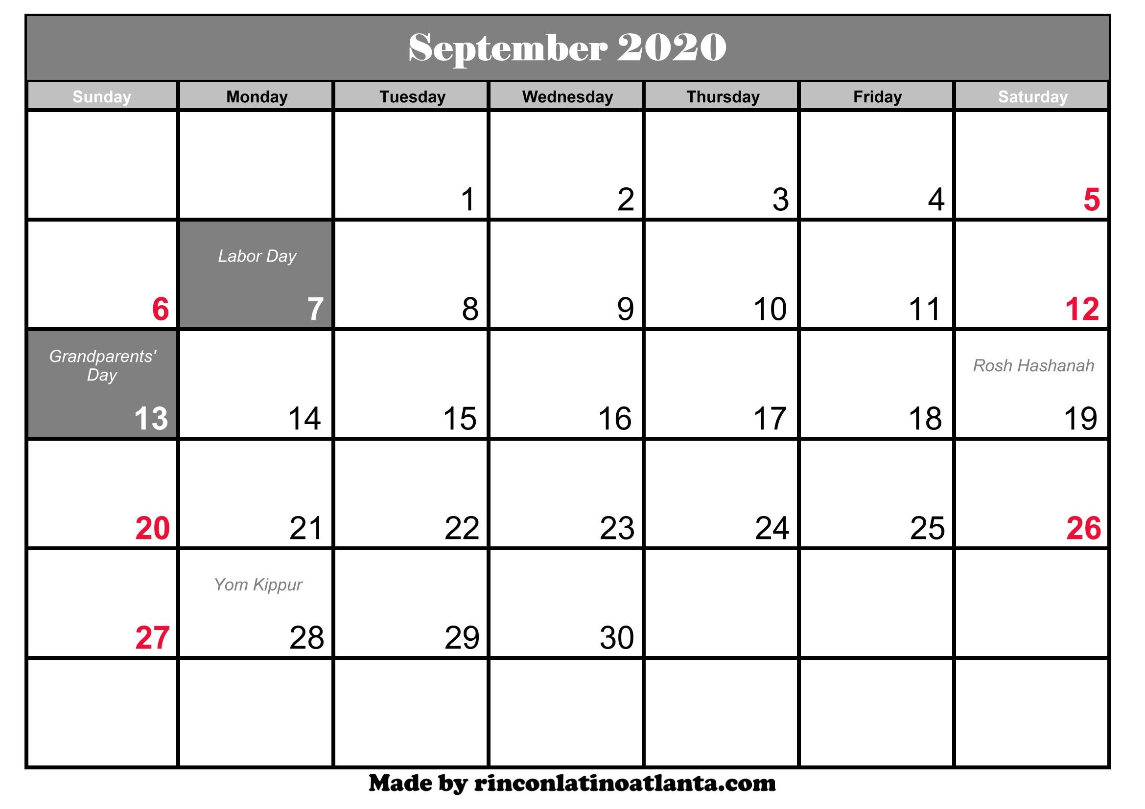 September 2020 Calendar Printable September 2020 Calendar with Holidays
