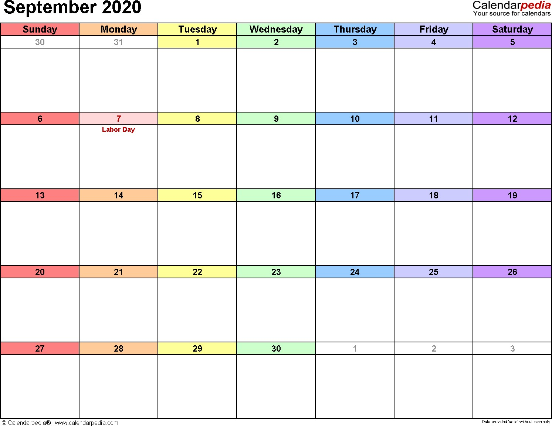 September 2020 Calendars for Word Excel & PDF