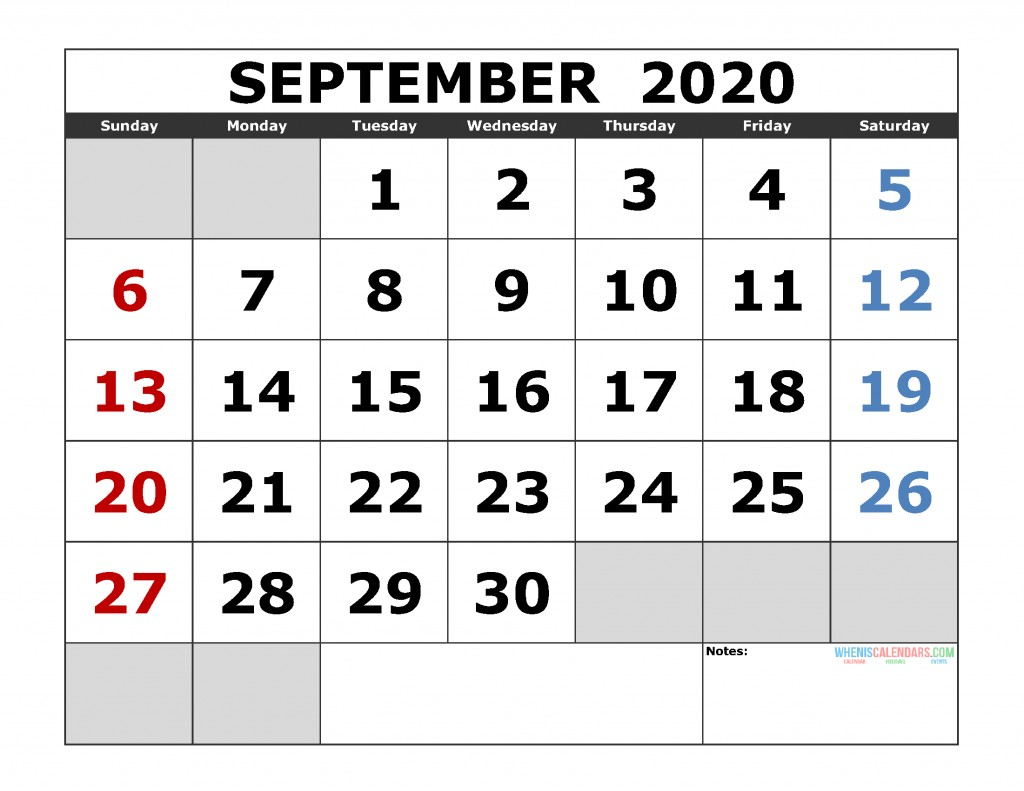 September 2020 Calendar Printable September 2020 Printable Calendar Template Excel Pdf