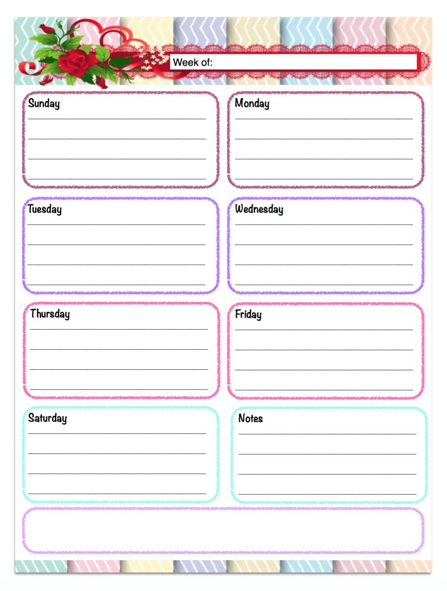 Weekly Calendar Printable Free Printable Weekly Planners 5 Designs