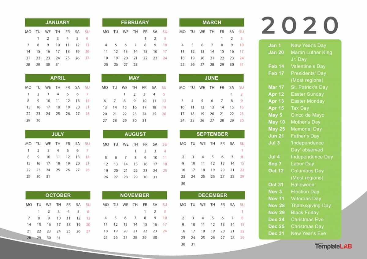 Year Calendar 2020 Printable 12 Months 2020 Printable Calendar with Holidays