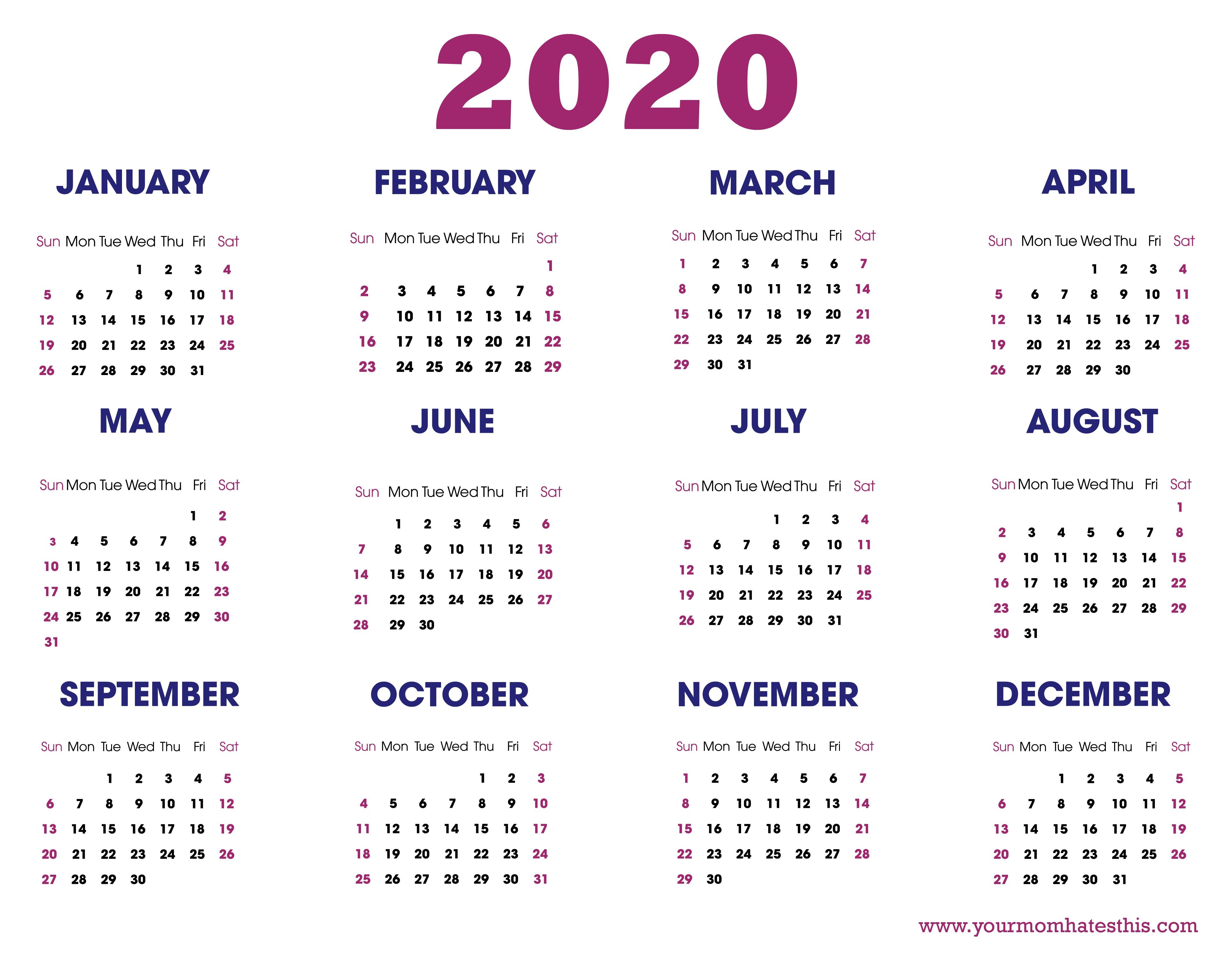 Year Calendar 2020 Printable 2020 Calendars In Pdf Download Templates Of Calendar 2020