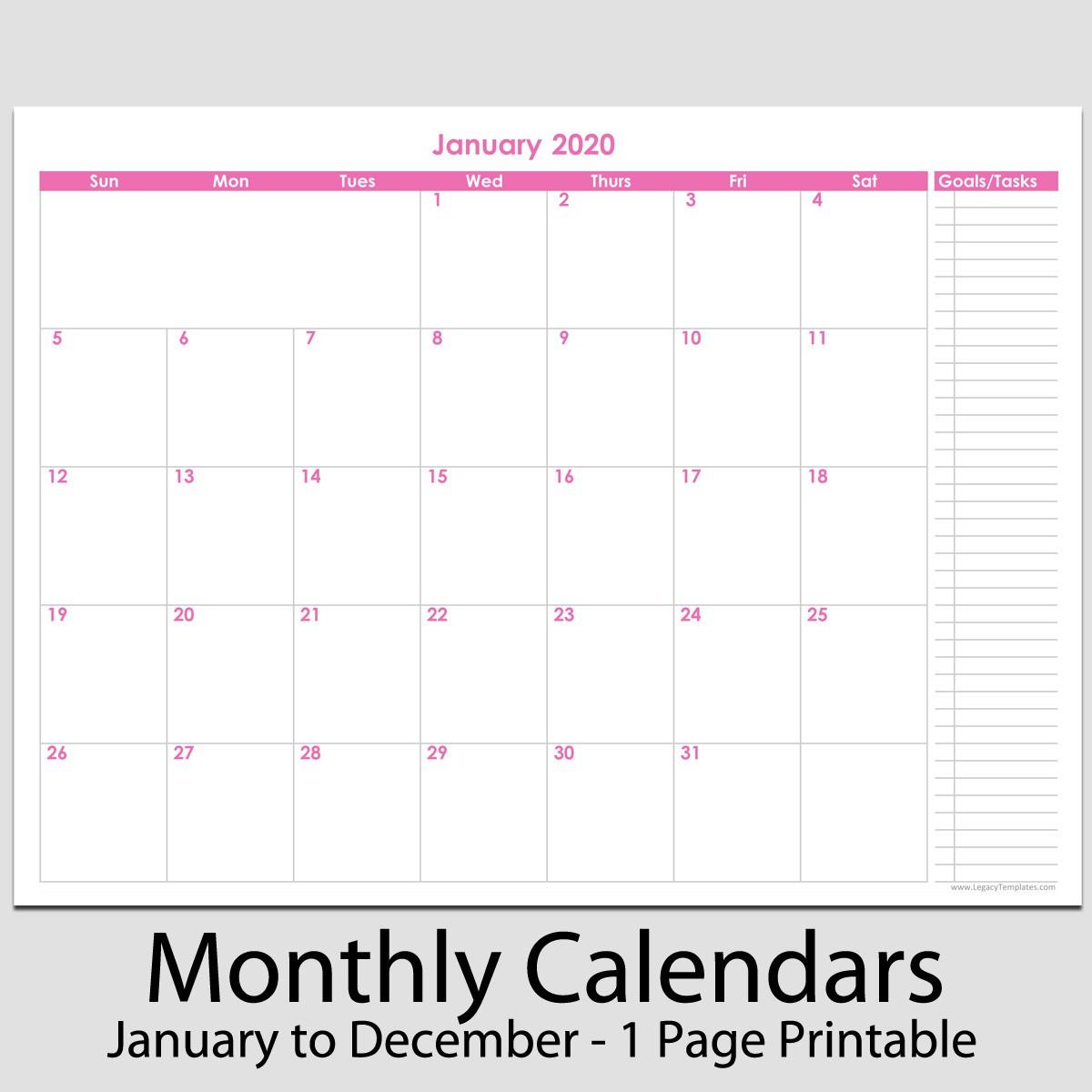 12 Printable Calendar 2020