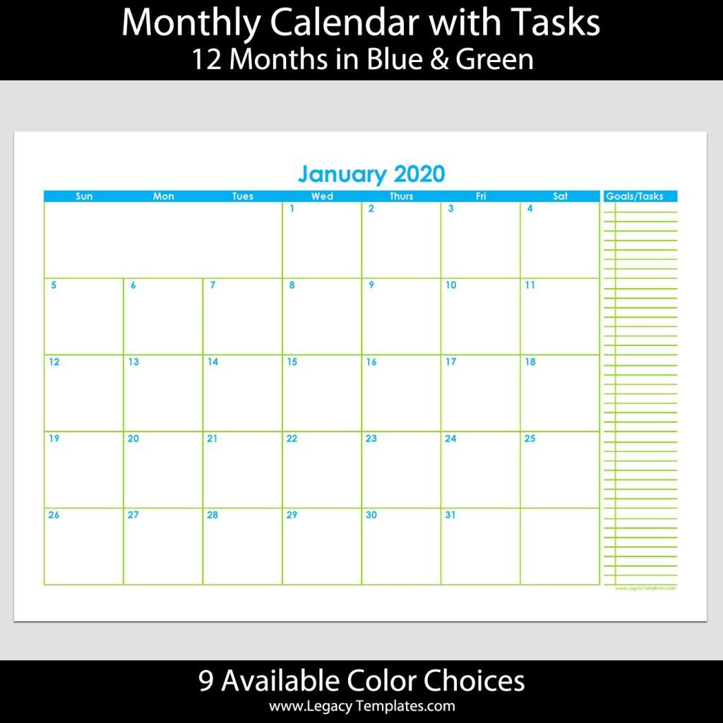 2020 12 Month Landscape Calendar with Tasks – A4