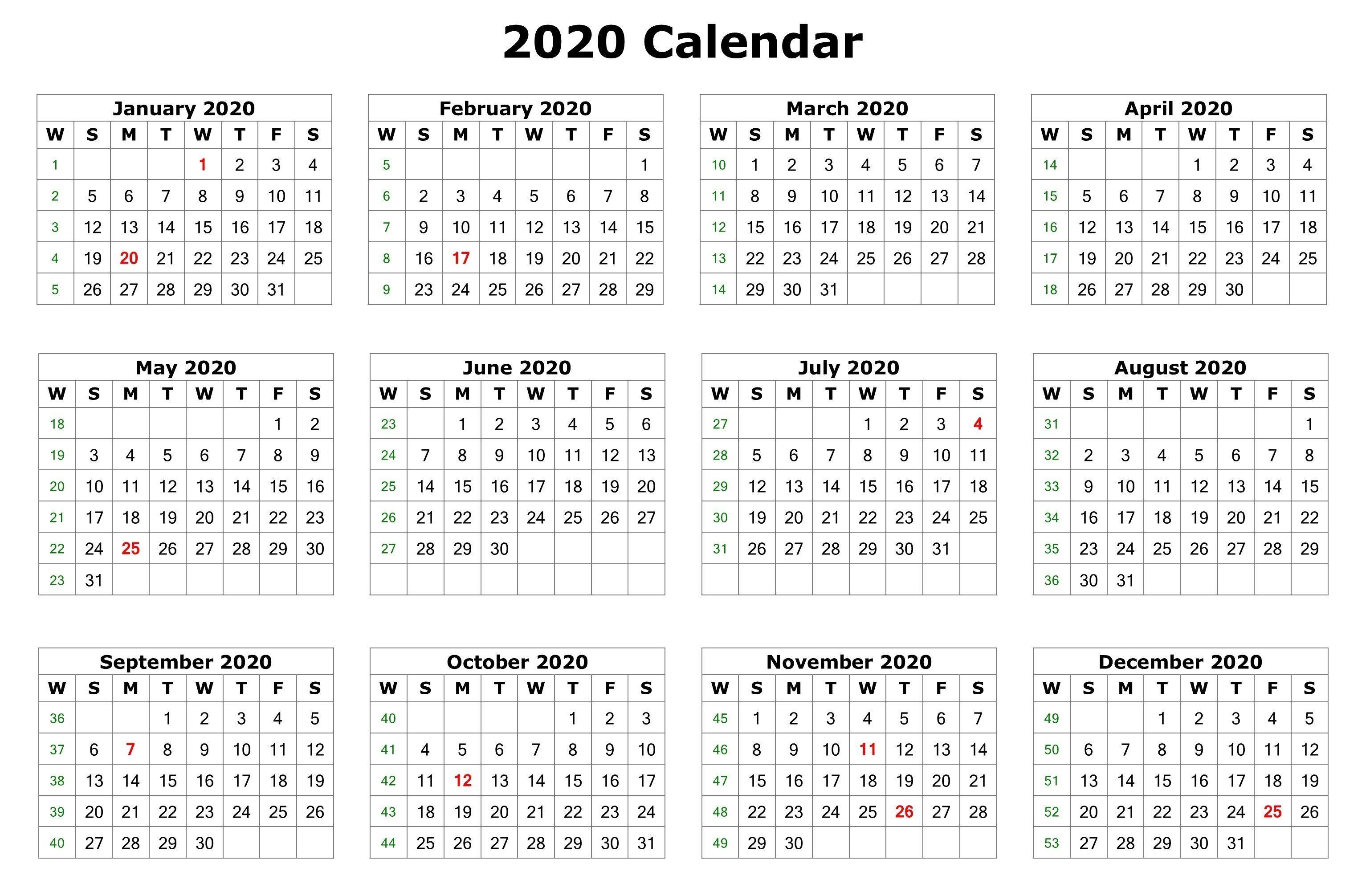 2020 12 Months Calendar Printable
