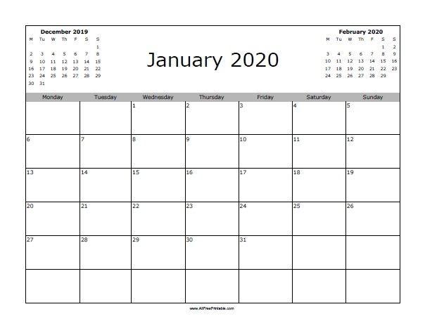 2020 12 Month Calendar Printable January 2020 Calendar Starting with Monday