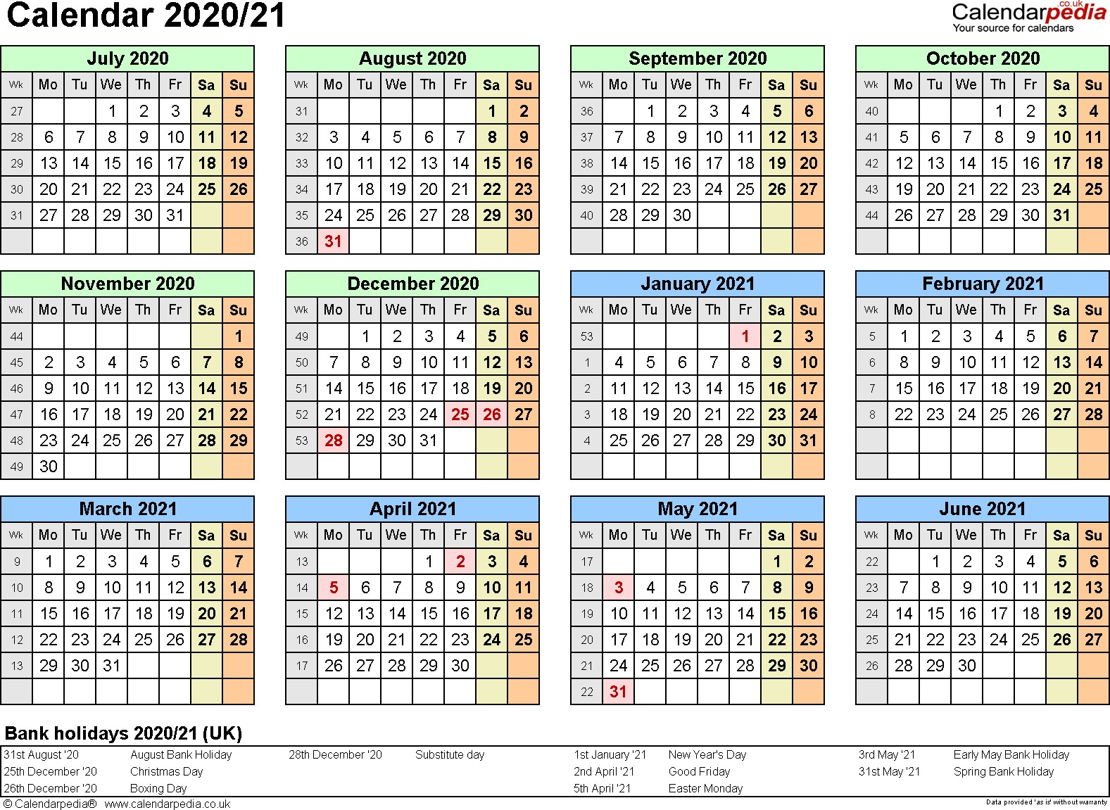 Split year calendars 2020 21 July to June for PDF UK