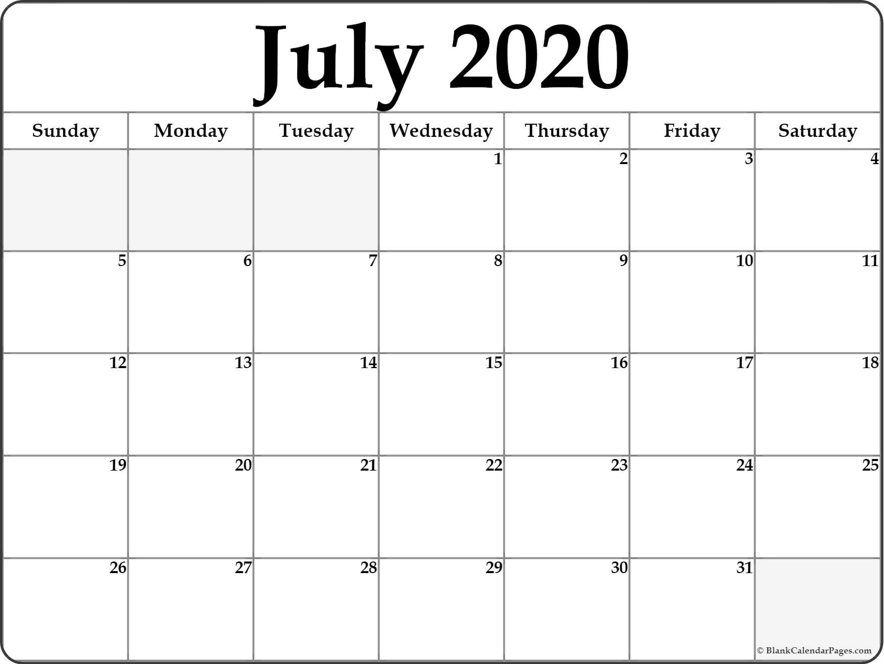 2020 Blank Printable Calendar July 2020 Calendar
