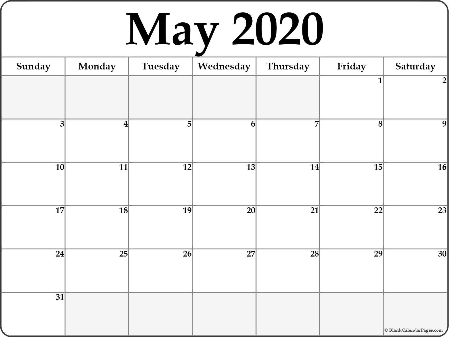2020 Blank Printable Calendar May 2020 Blank Calendar Templates