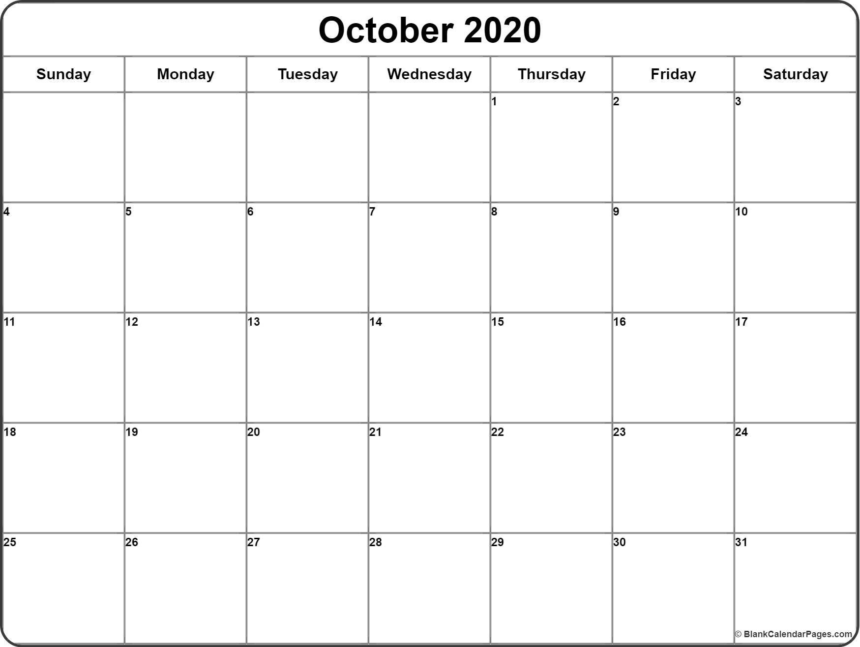 2020 Blank Printable Calendar October 2020 Calendar
