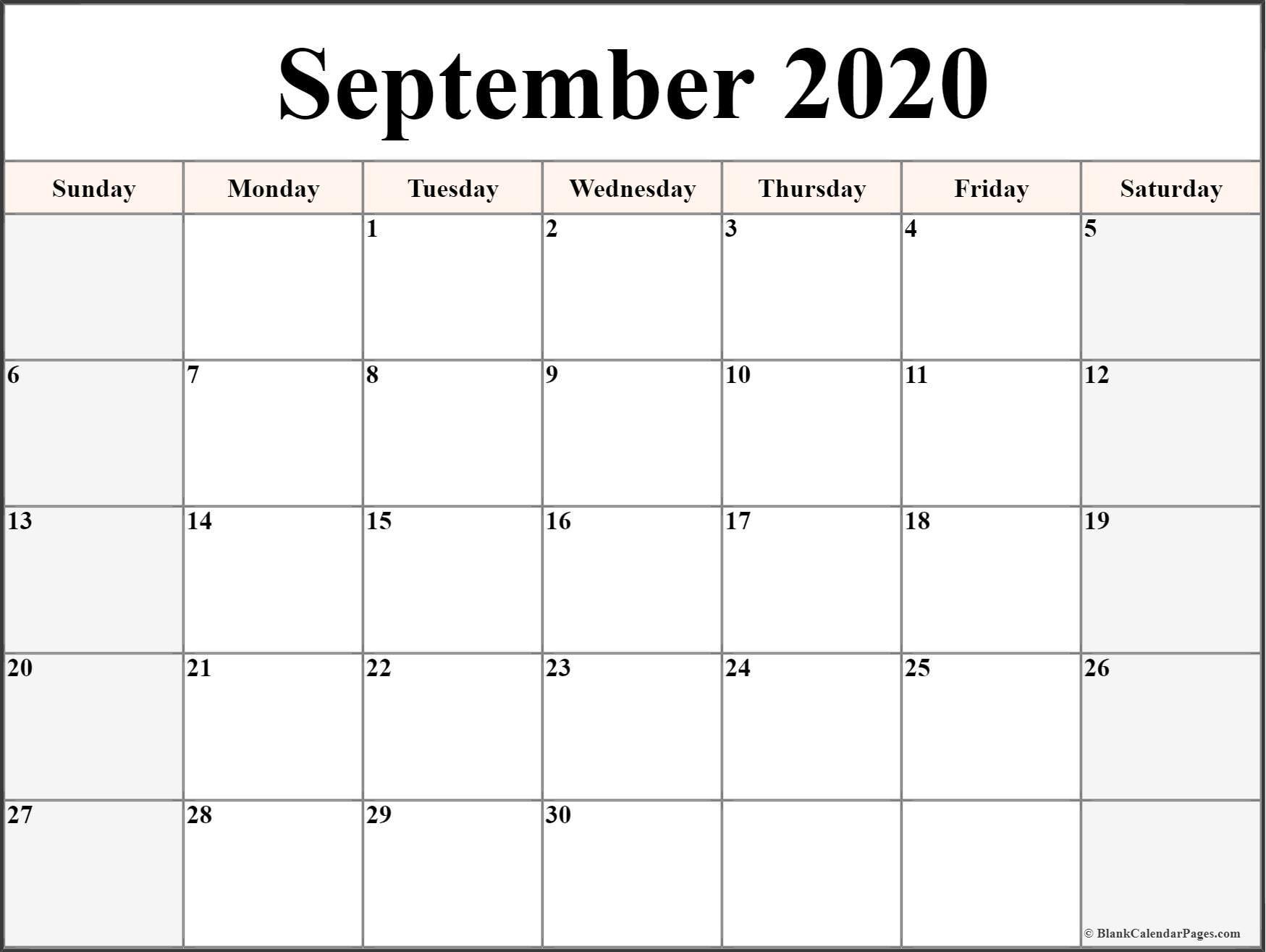 2020 Blank Printable Calendar September 2020 Calendar