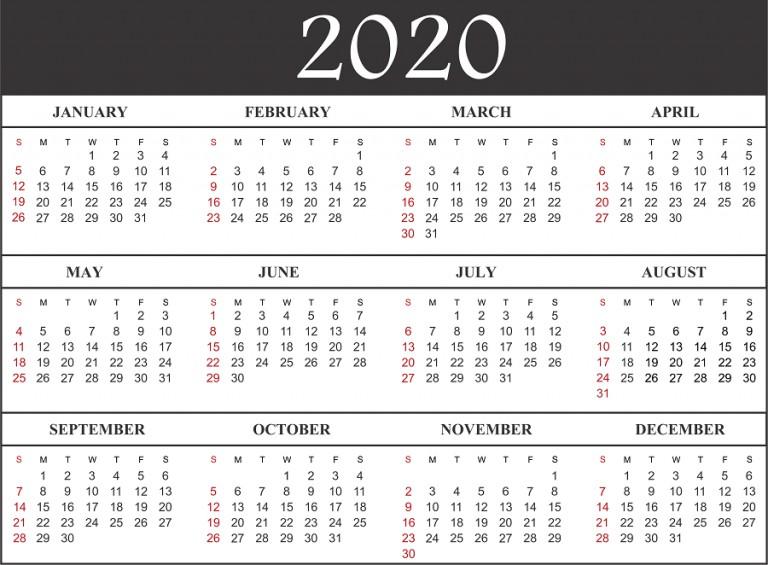 2020 Calendar Free Printable