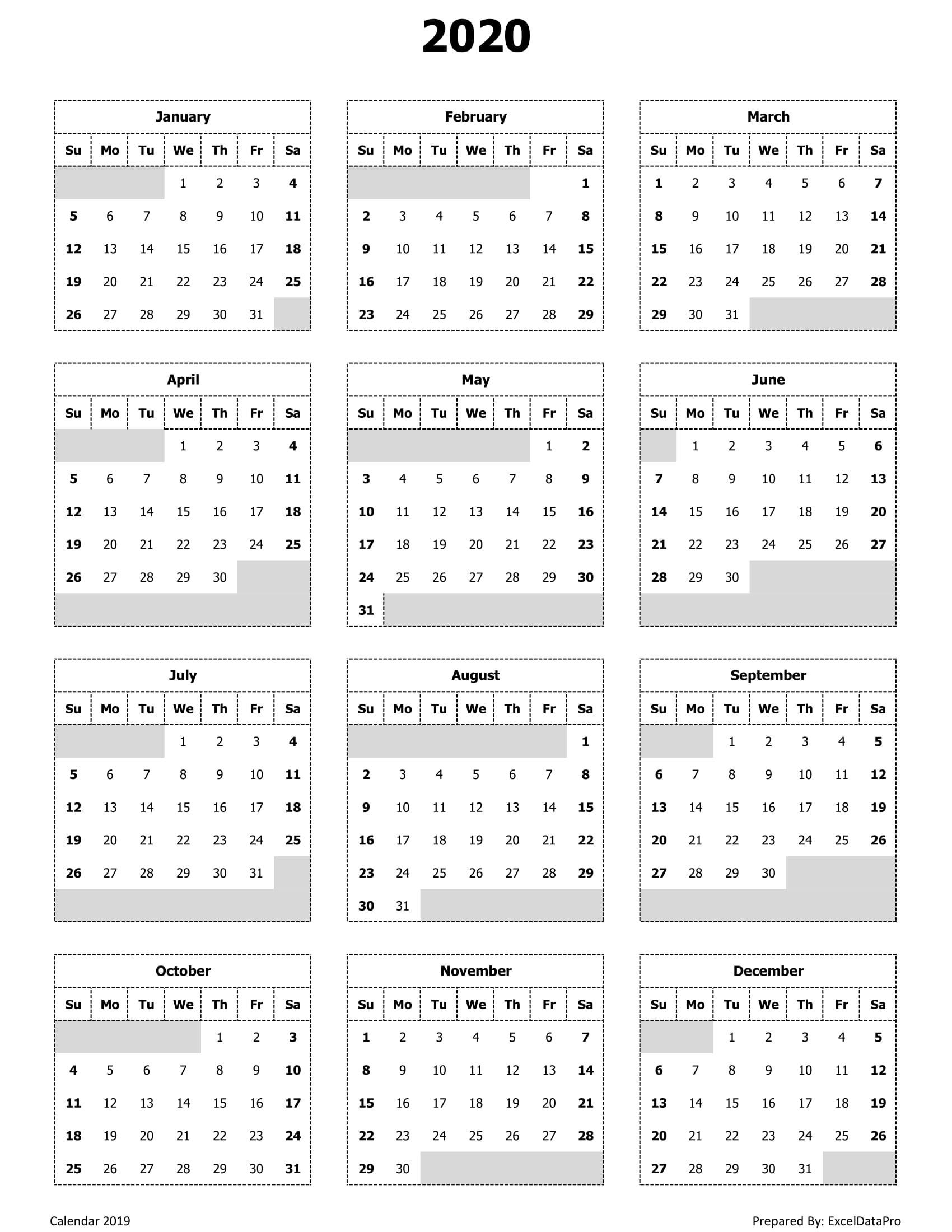 2020 Calendar Excel Templates Printable PDFs &