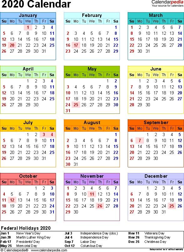 2020 Calendar Printable Pdf 2020 Calendar Pdf 18 Free Printable Calendar Templates