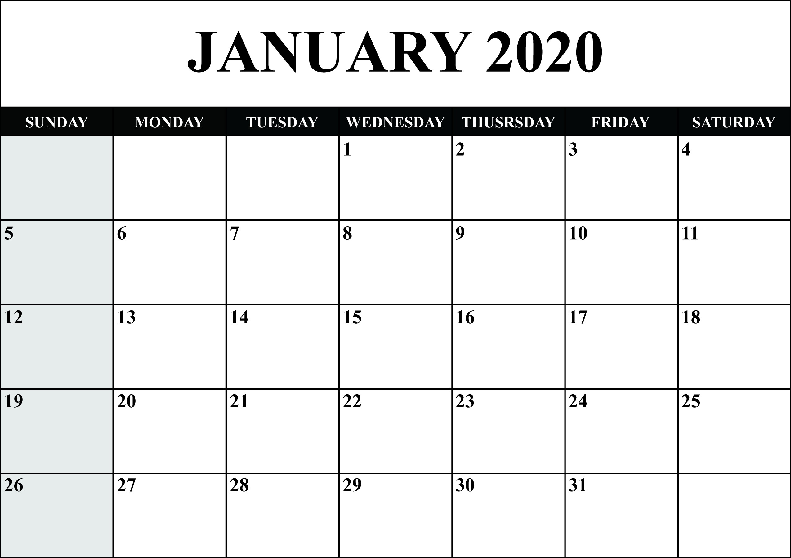 Free Blank January 2020 Calendar Printable in PDF Word