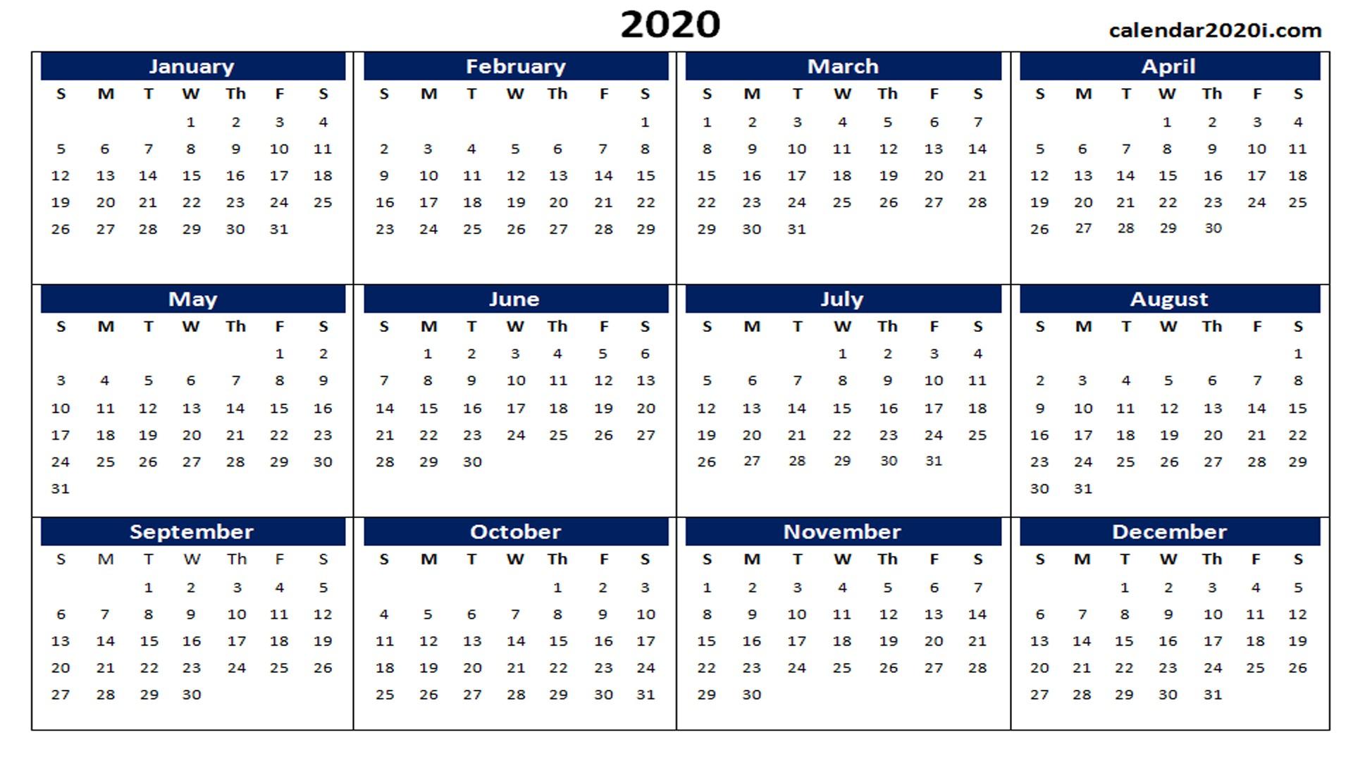 2020 Calendar Printable Word