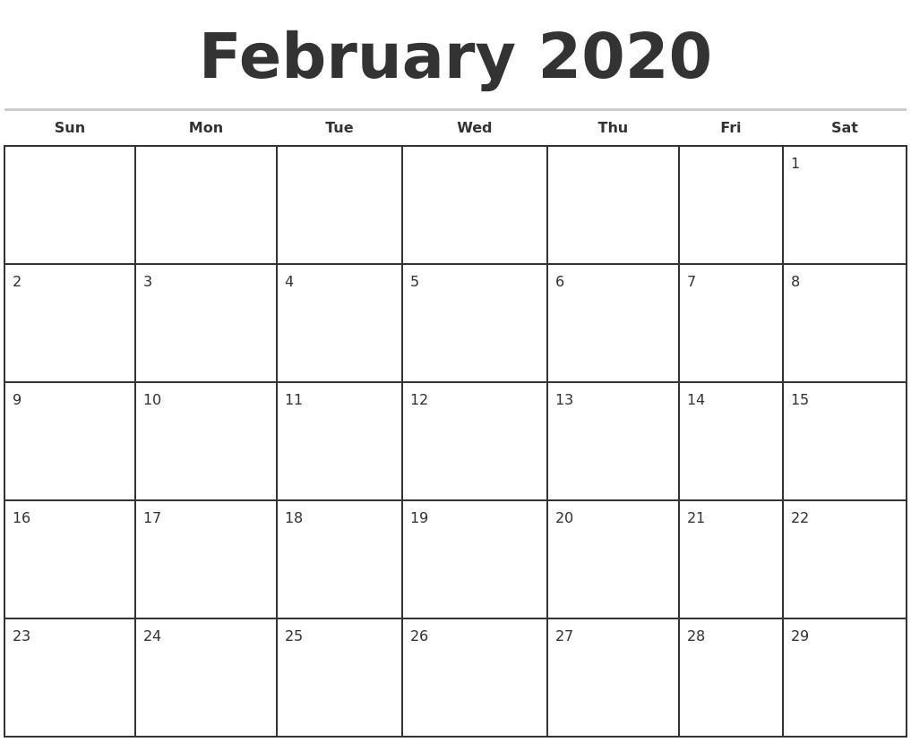 February 2020 Monthly Calendar Template