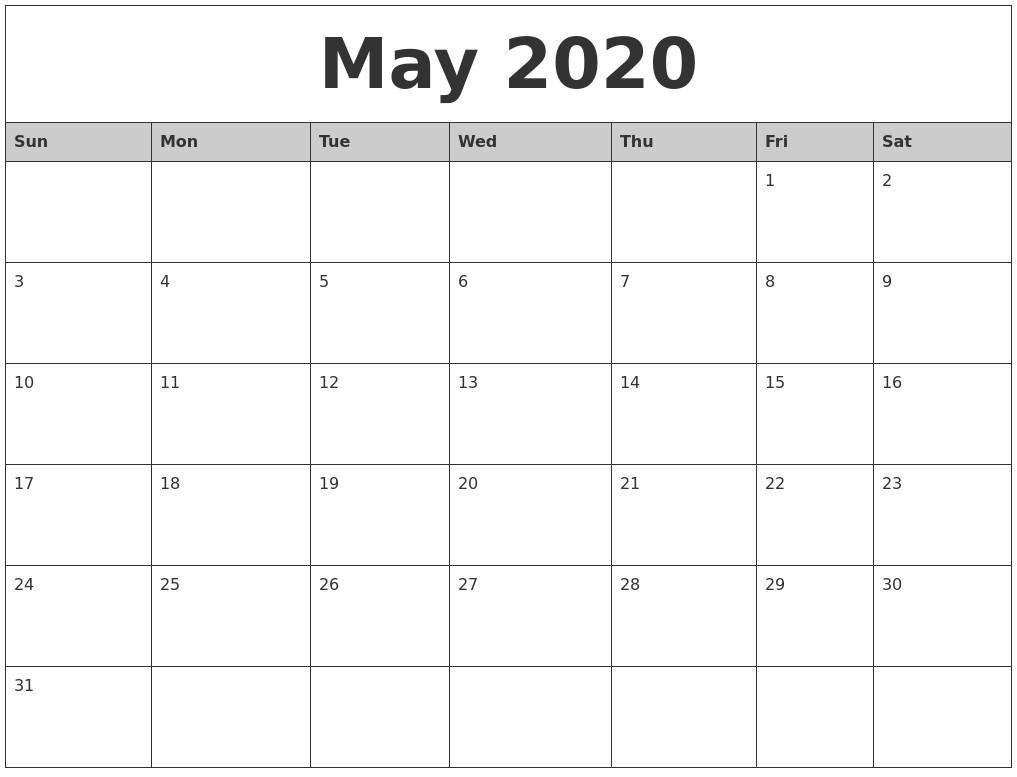 2020 Monthly Calendar Printables