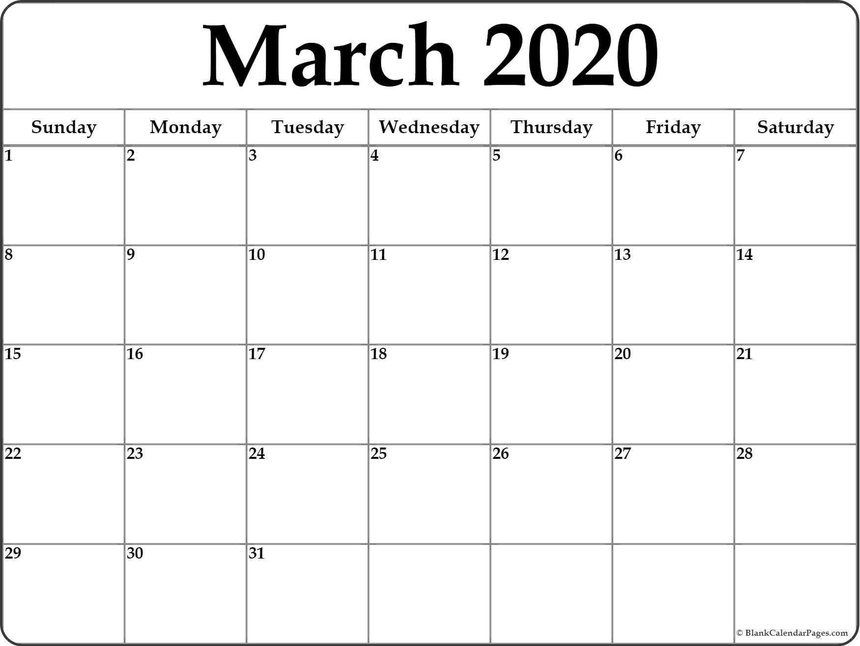 2020 Monthly Calendar Printables March 2020 Blank Calendar Templates