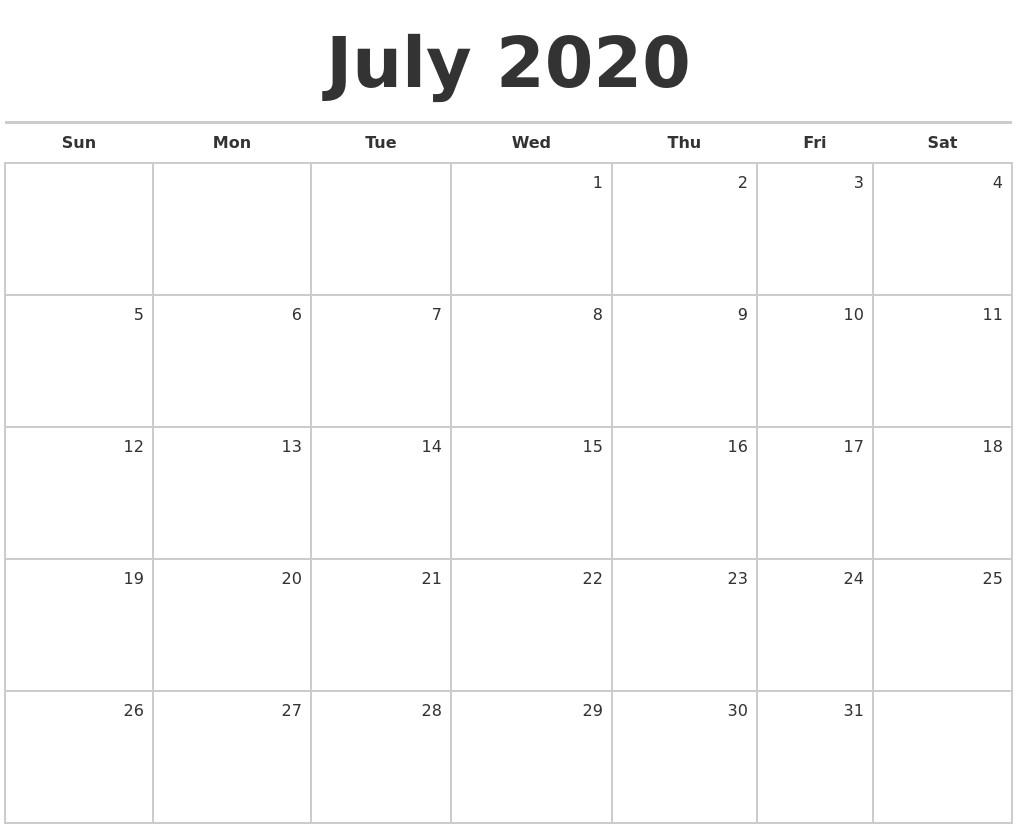 2020 Monthly Calendar Printables March 2020 Print Free Calendar