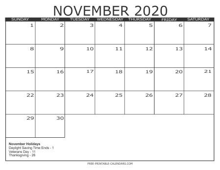 2020 Calendar Style 3 Free Printable Calendars