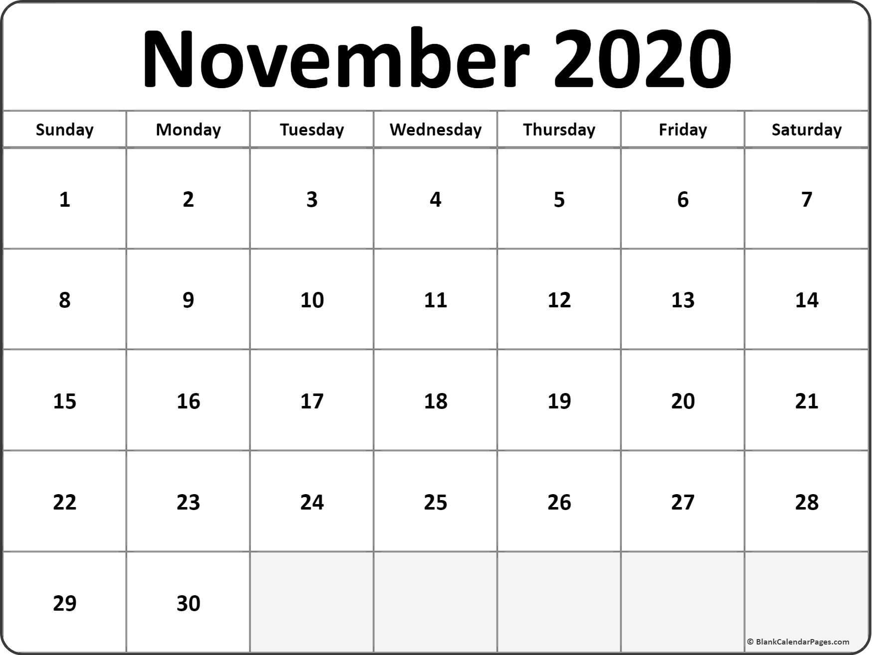 November 2020 blank calendar templates