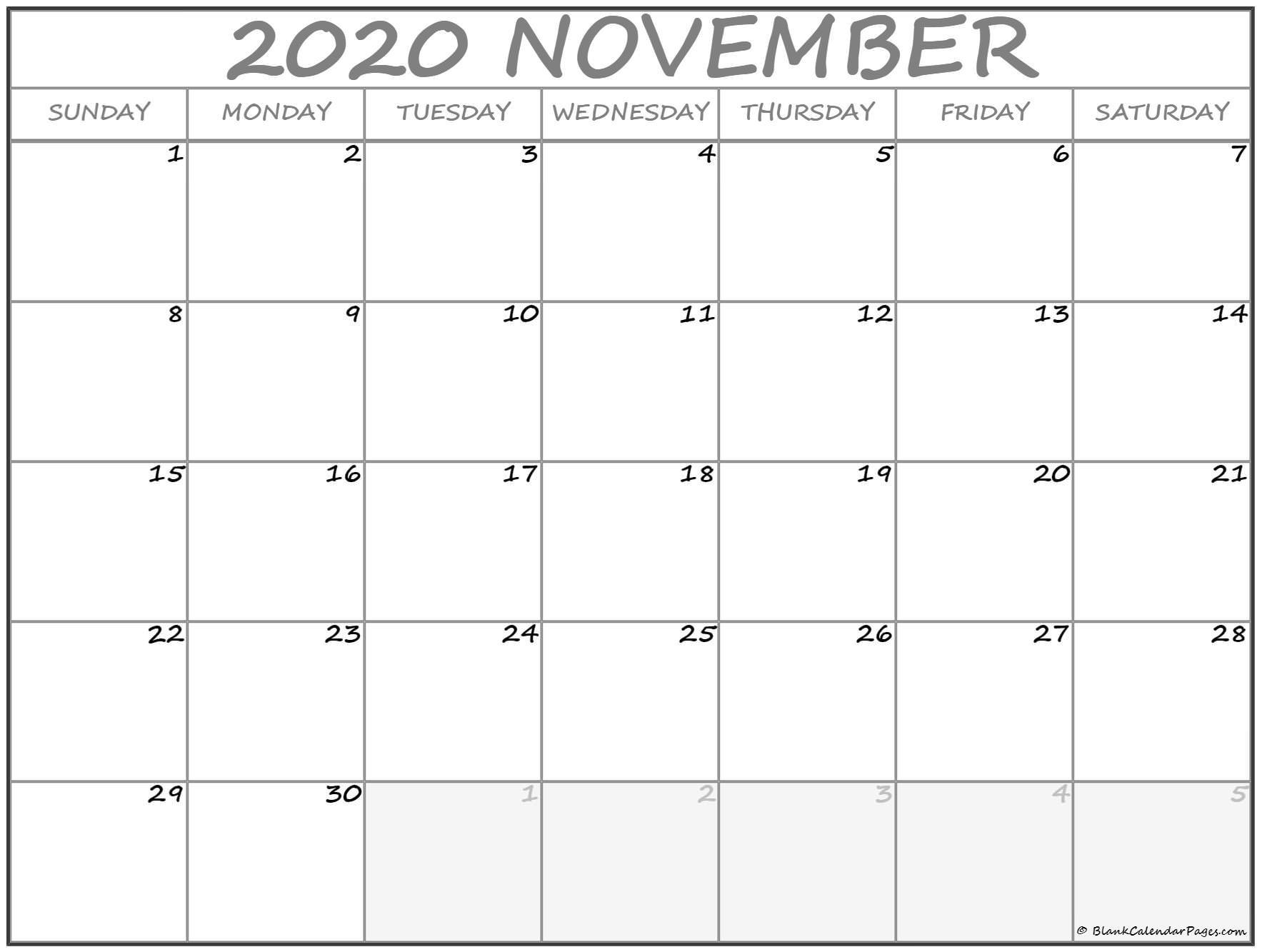 2020 November Printable Calendar November 2020 Calendar