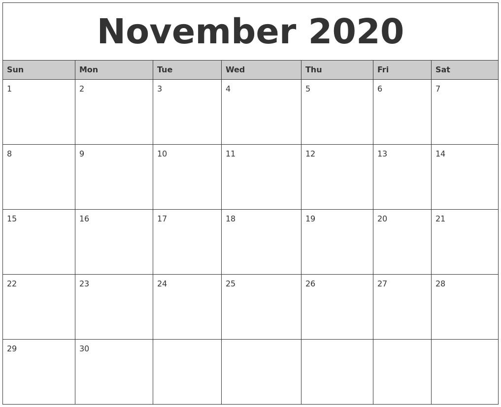 2020 November Printable Calendar October 2020 Calanders