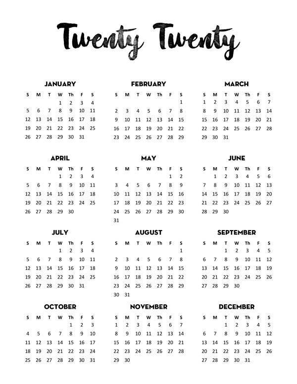 Free 2020 Calendar Printable e Page Lovely Planner