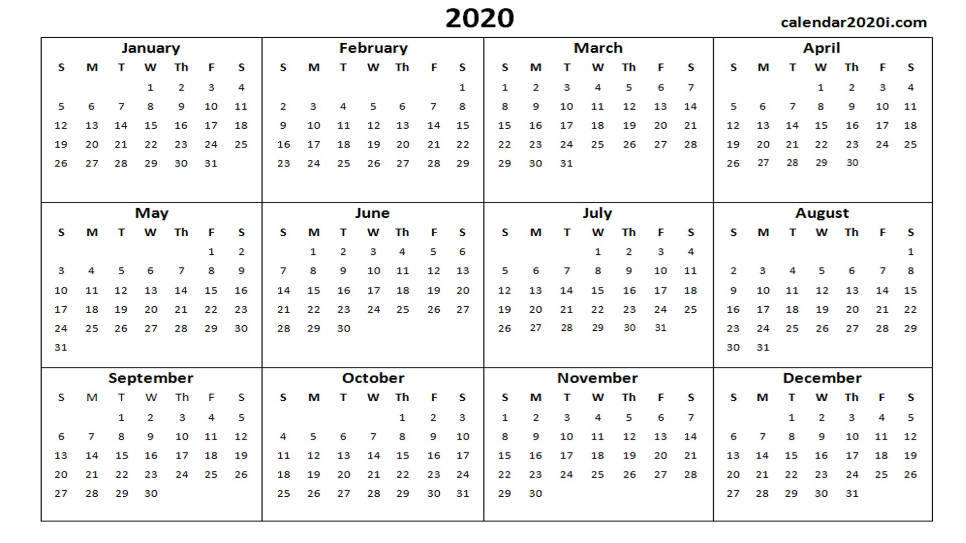2020 Calendar Printable Template Holidays Word Excel