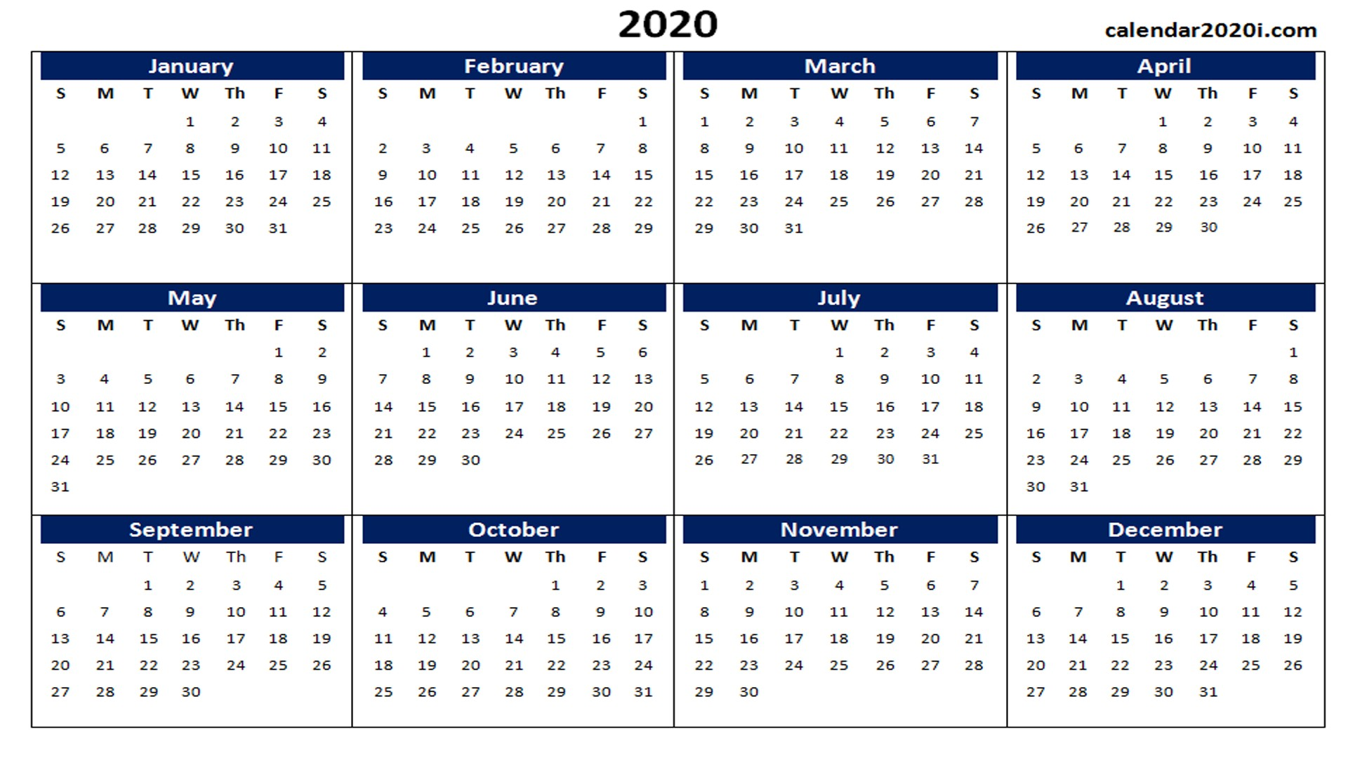 2020 Printable Calendar Word