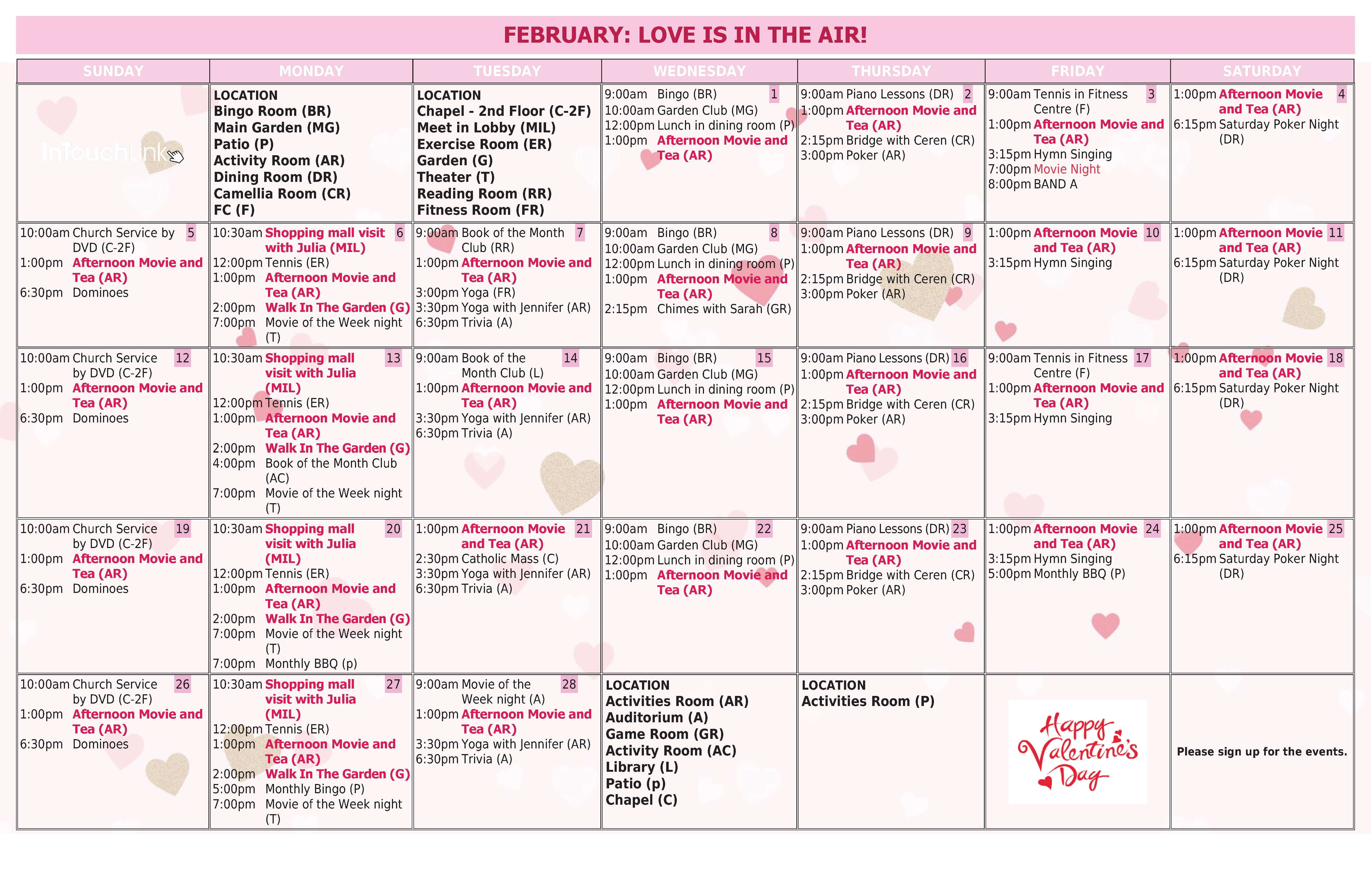 Activity Calendar Management in Senior Living munities