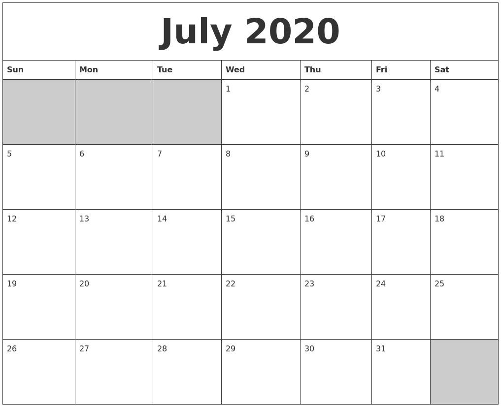 Blank 2020 Calendar Printable April 2020 Calendars to Print