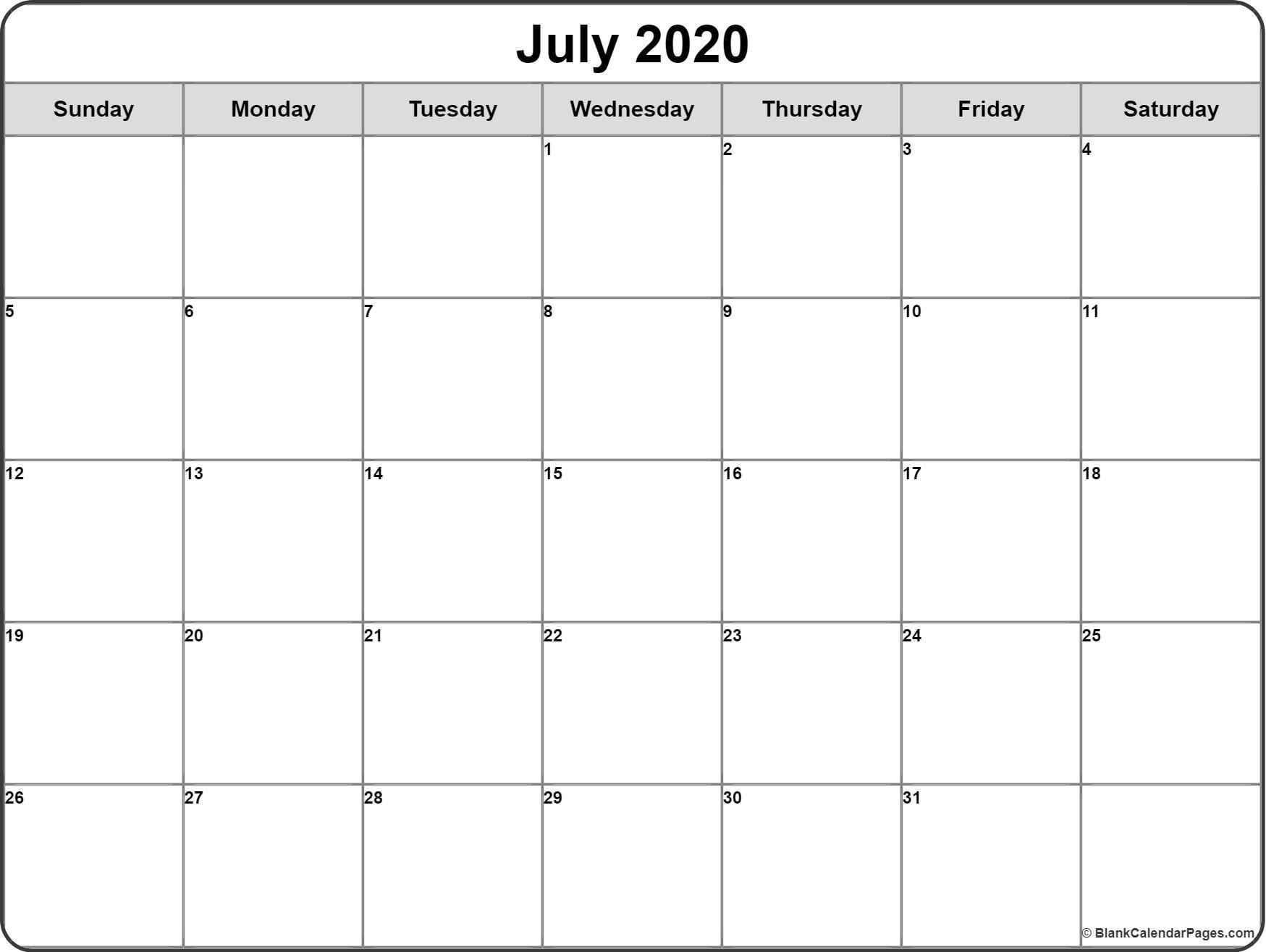 Blank 2020 Calendar Printable July 2020 Calendar