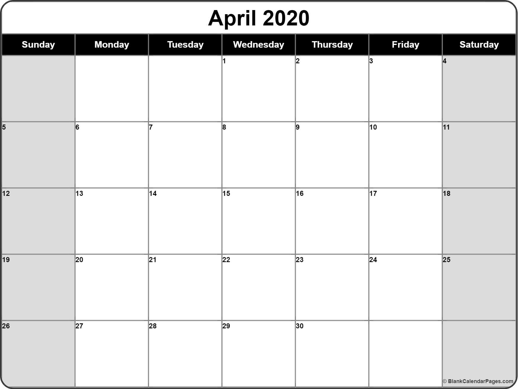 Blank Calendar 2020 Printable April 2020 Calendar