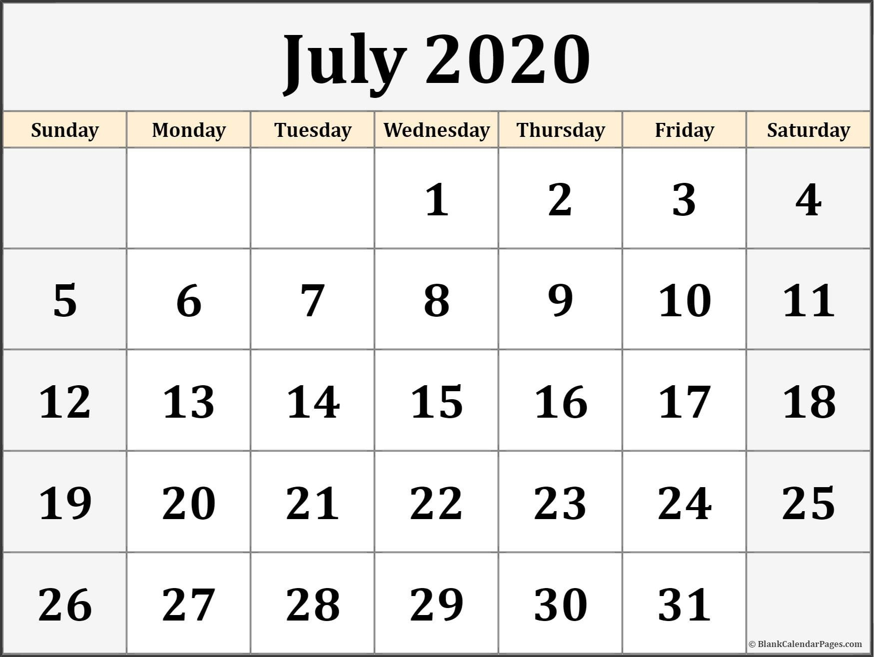 Blank Calendar 2020 Printable July 2020 Calendar